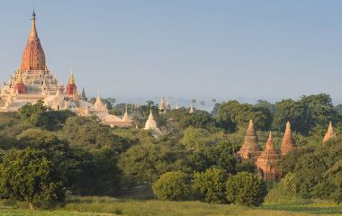 Sunrise landscape view with silhouettes of old temples, Bagan, Myanmar (Burma), Asia
