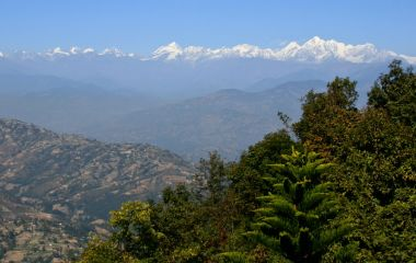 View of Kathmandu Valley as seen from Dhulikhel after a short hike. Taken in Nepal, Asia