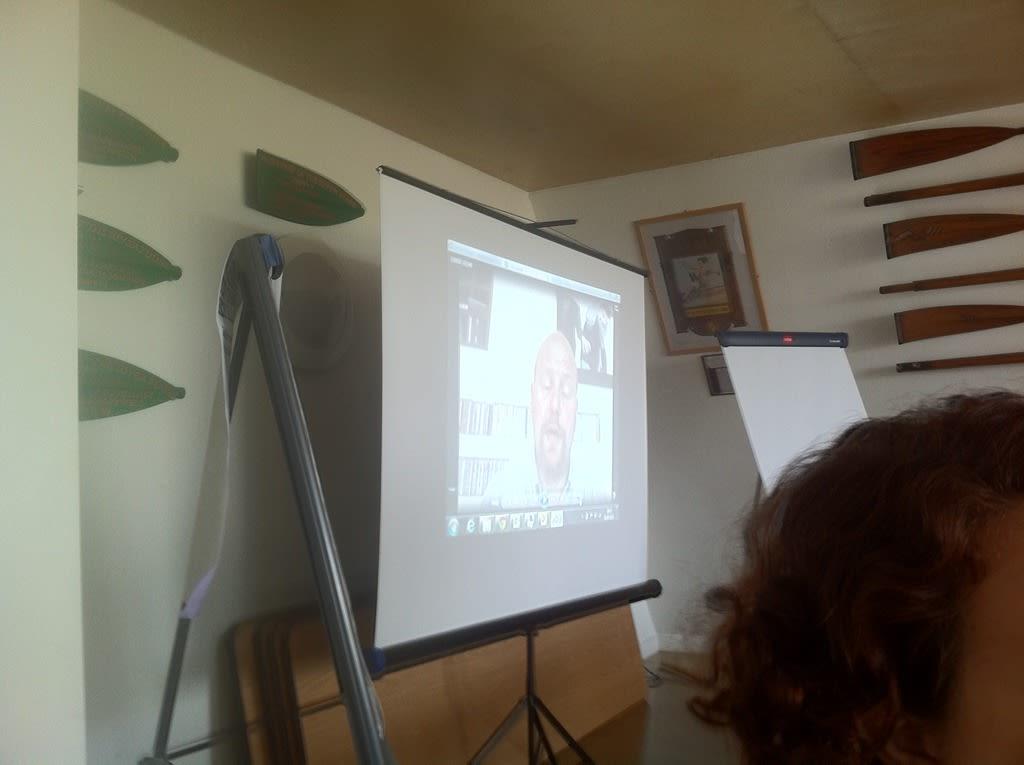 Iyas AlQasem doing his pitch via a video recording