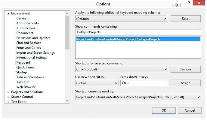 Assign a keyboard shortcut to collapse all projects in Solution Explorer