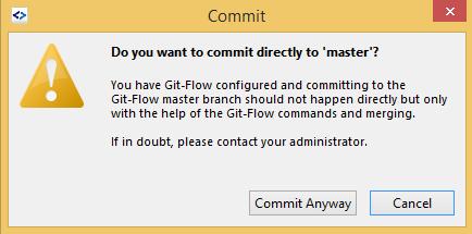 SmartGit GitFlow commit to master warning