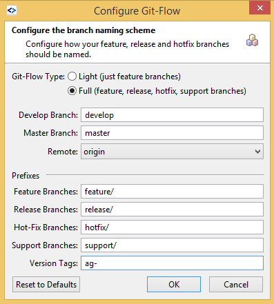 SmartGit GitFlow configure option with version tag
