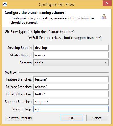 SmartGit GitFlow configure option with version tag