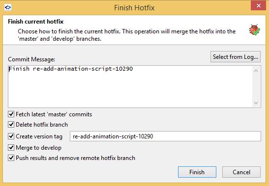 SmartGit GitFlow finish hotfix