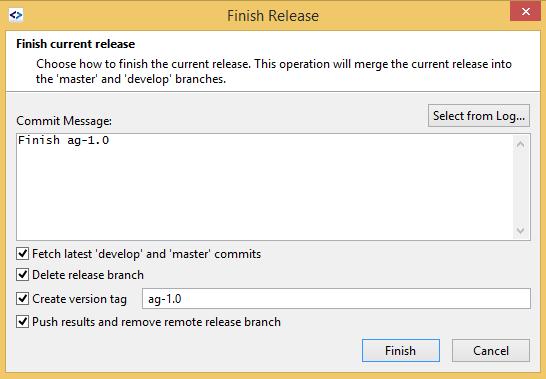 SmartGit GitFlow finish release