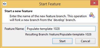 SmartGit GitFlow start feature menu