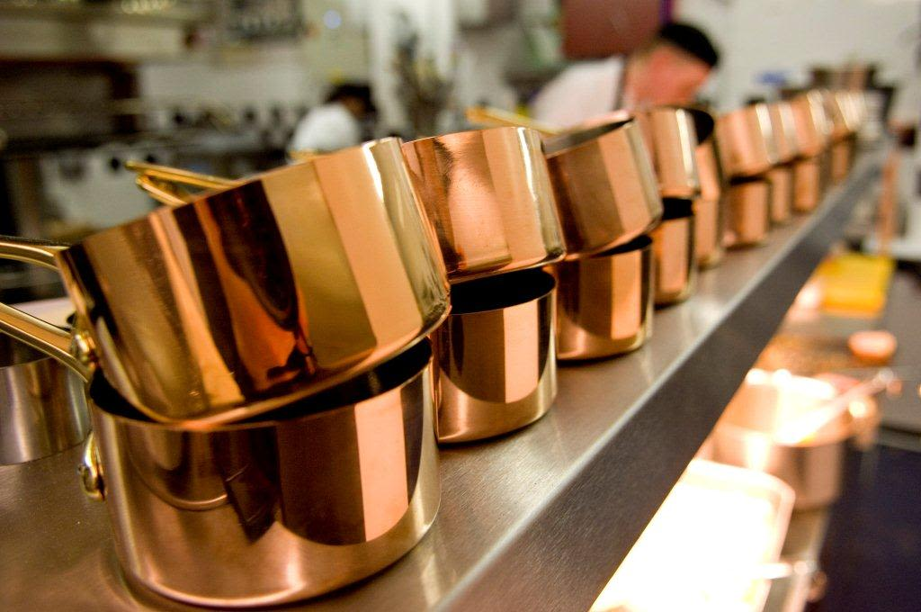 Copper pans at Michelin Star Restaurant Alimentum in Cambridge