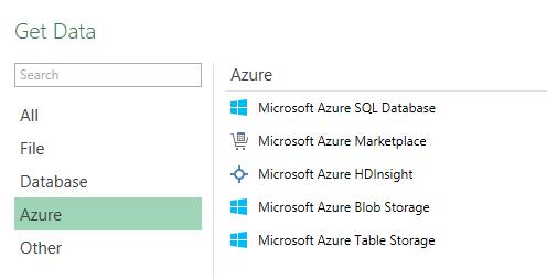 Power BI Designer Azure sources