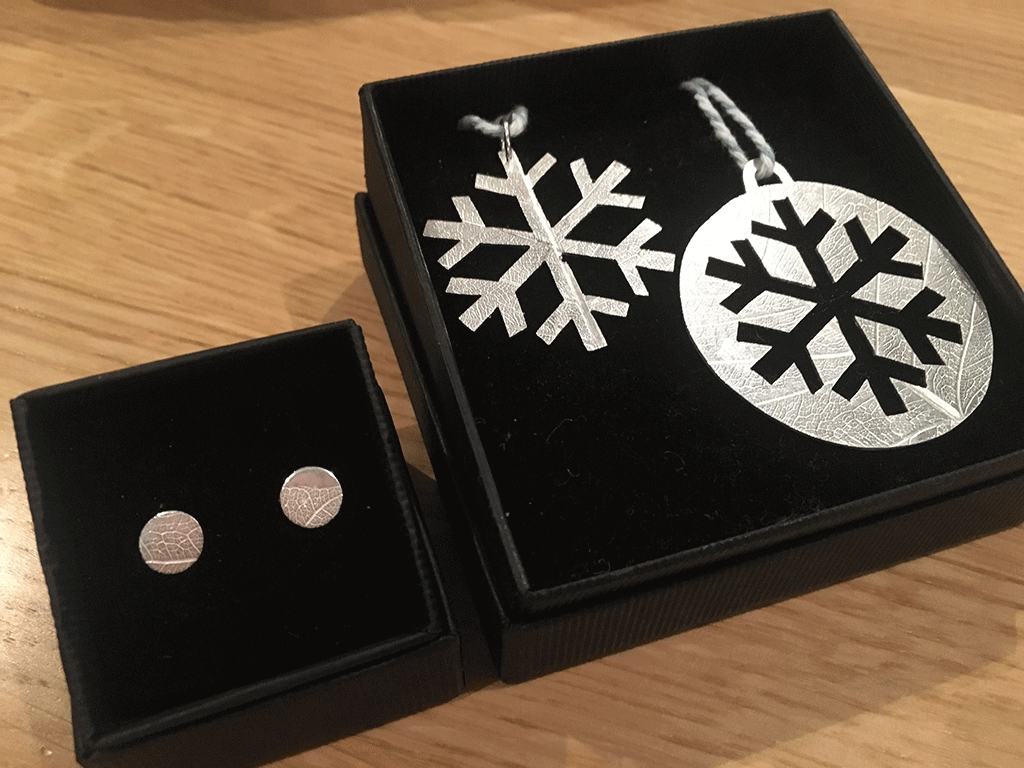 Finished earrings and two Christmas decorations boxed and ready to give away as presents.