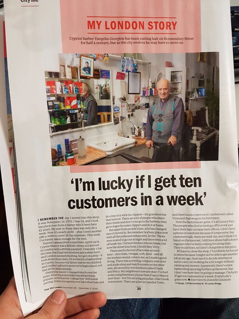 Timeout article about George's Gent's Hairdressers