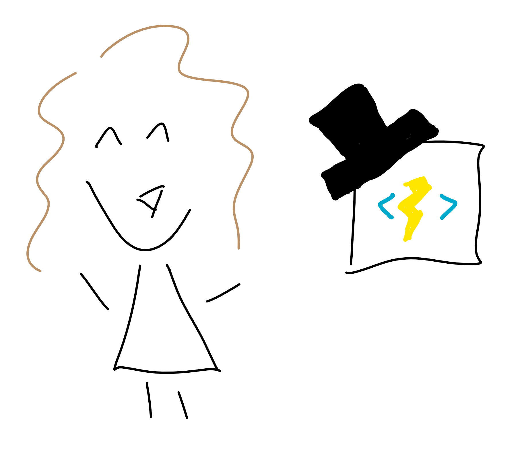 Doodle of author and Azure Function.