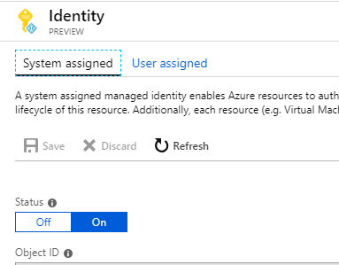 Identity settings tab in the Azure Portal.