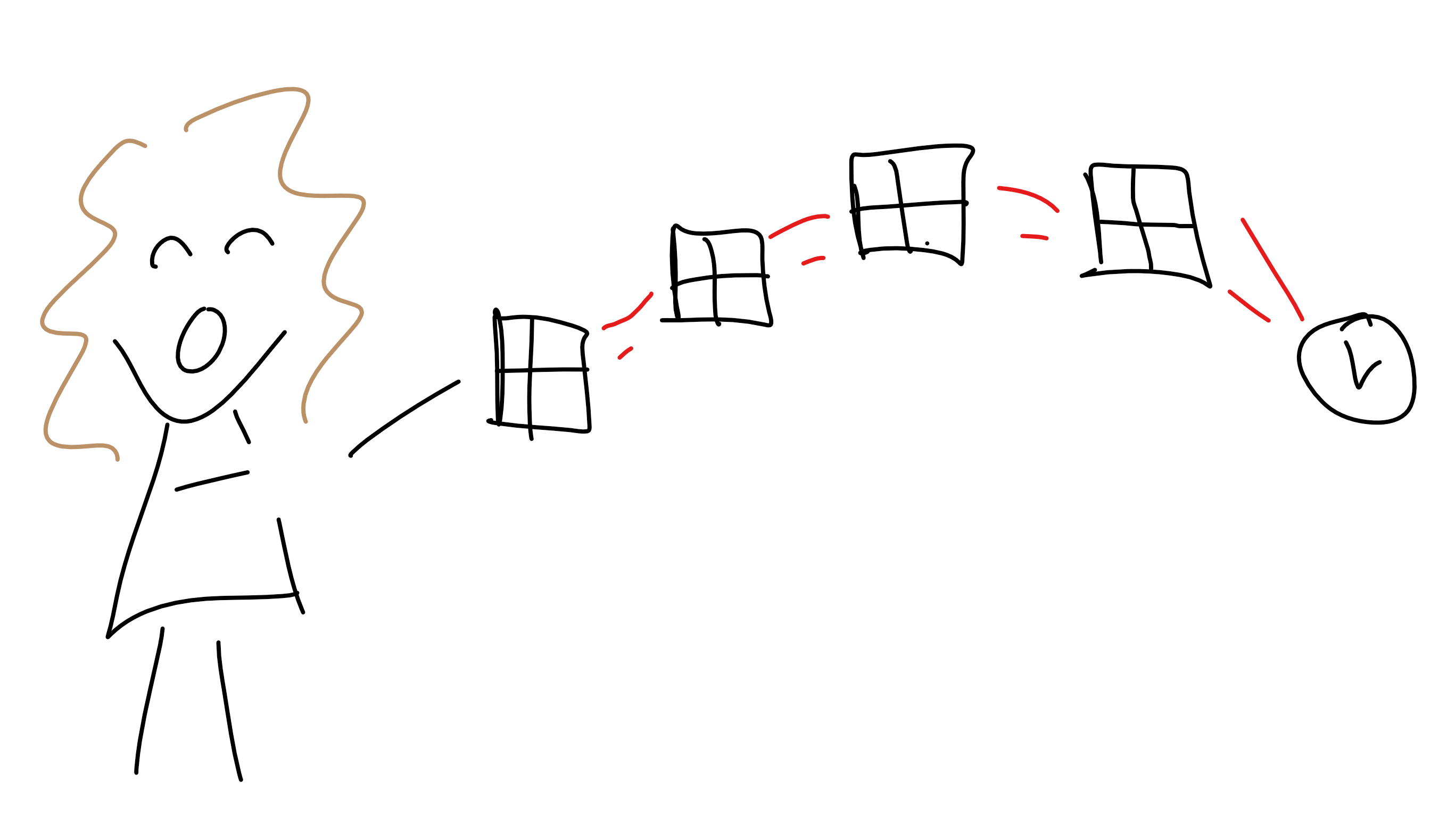 Doodle of author catching windows.