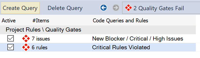 Query showing 7 critical issues, and 6 critical rules violated.