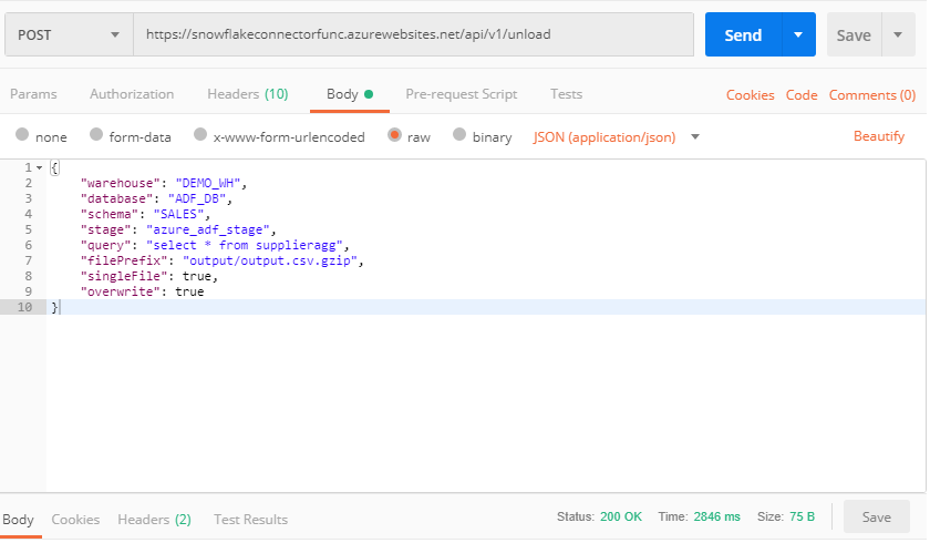 Executing Snowflake query and unloading results via Postman