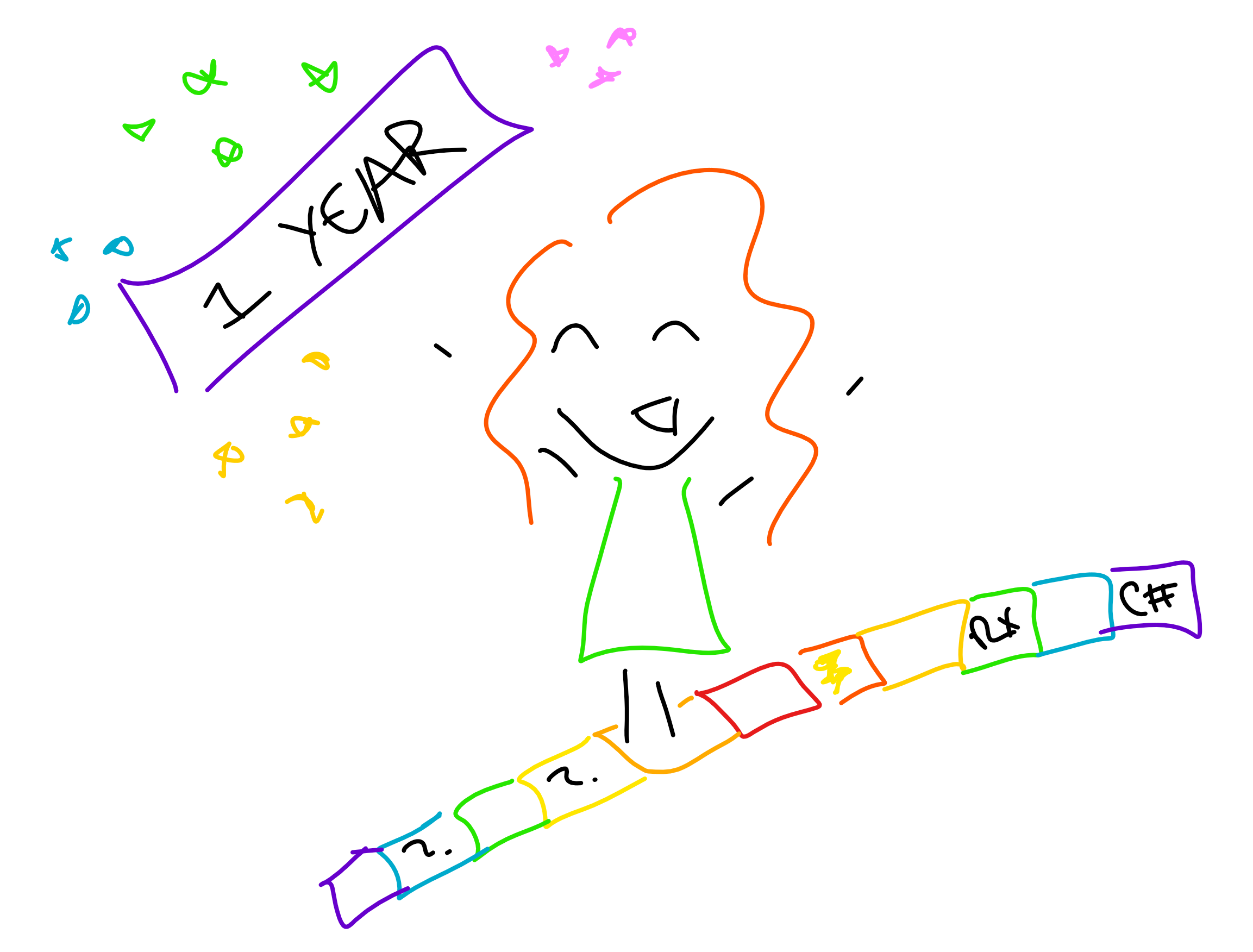 Doodle of author celebrating a year as an Apprentice II!