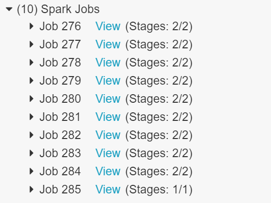 Output showing 10 spark jobs.