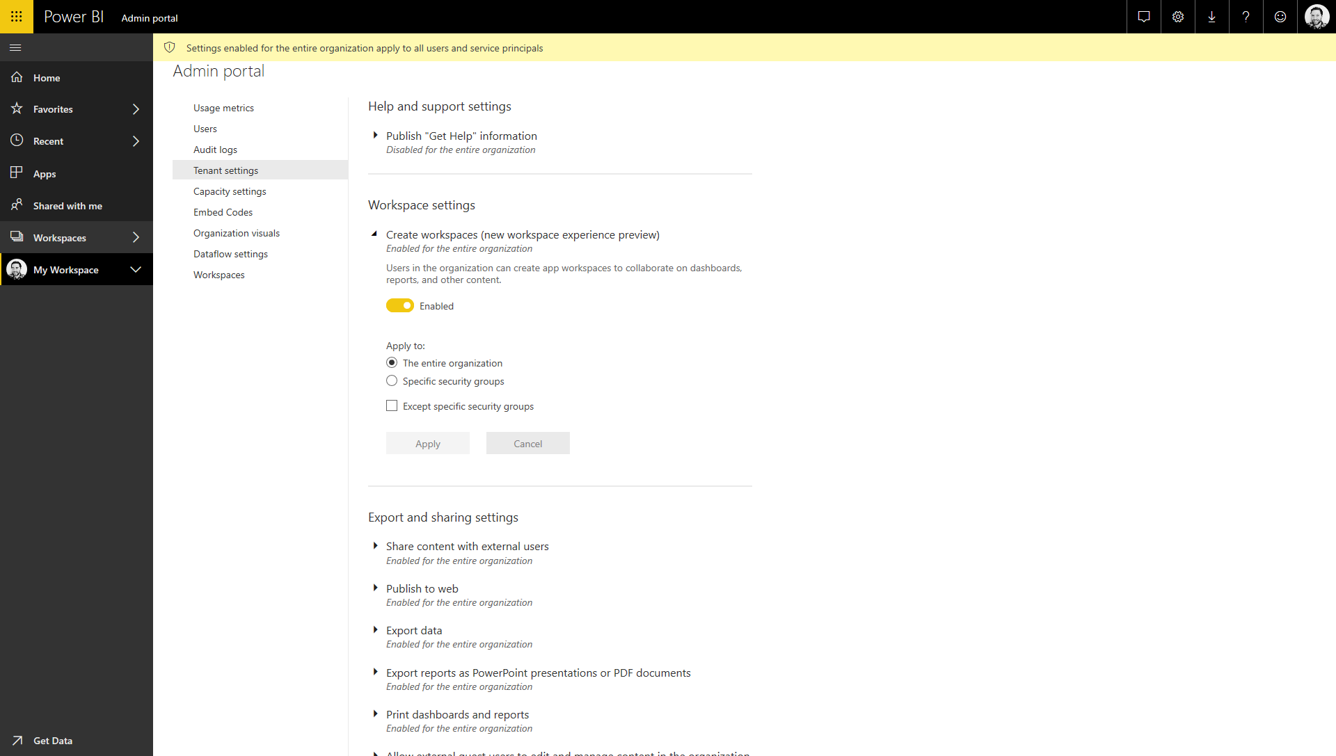Power BI Workspace Settings