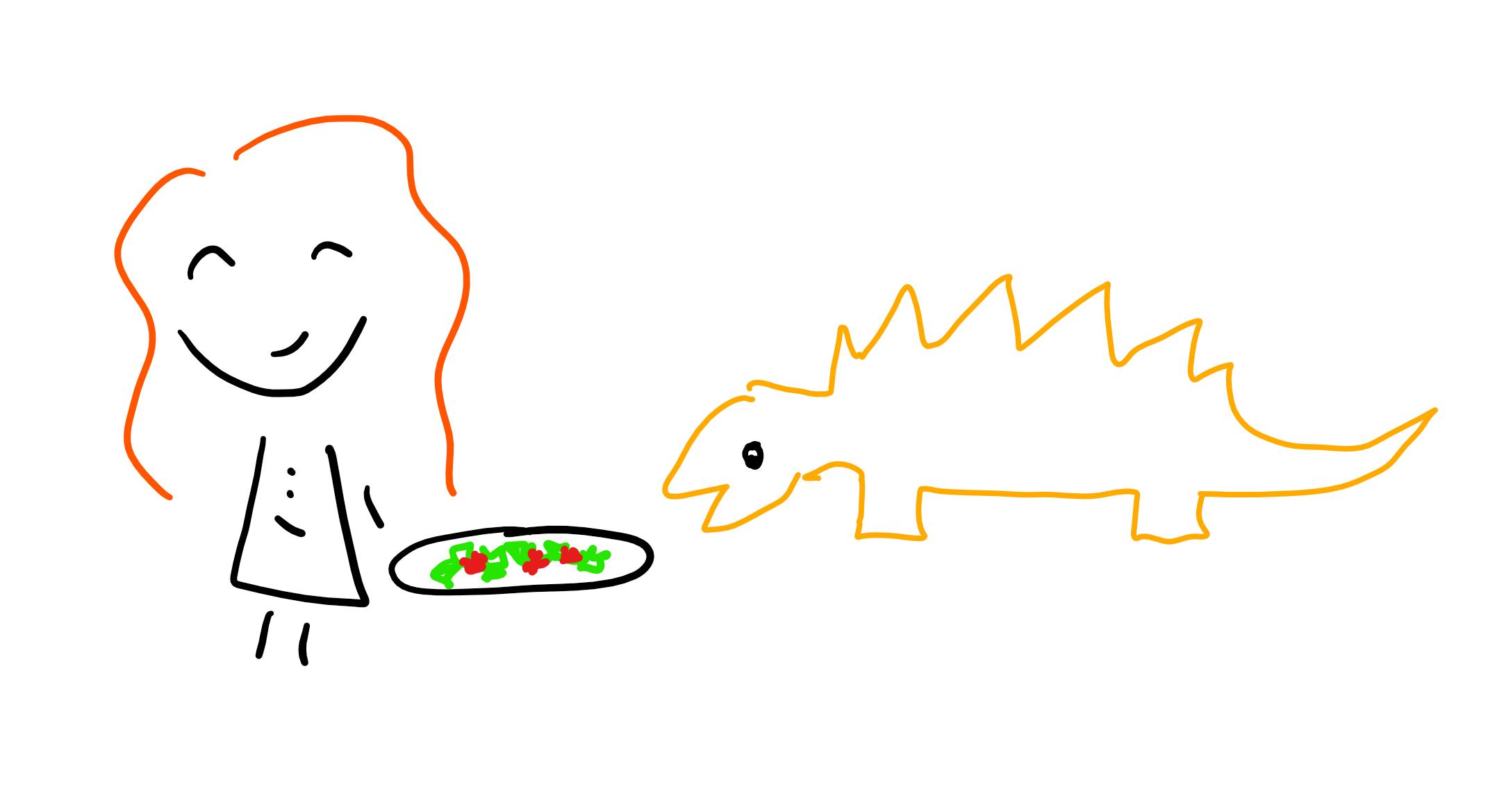 Doodle of auhtor feeding stegosaurus.