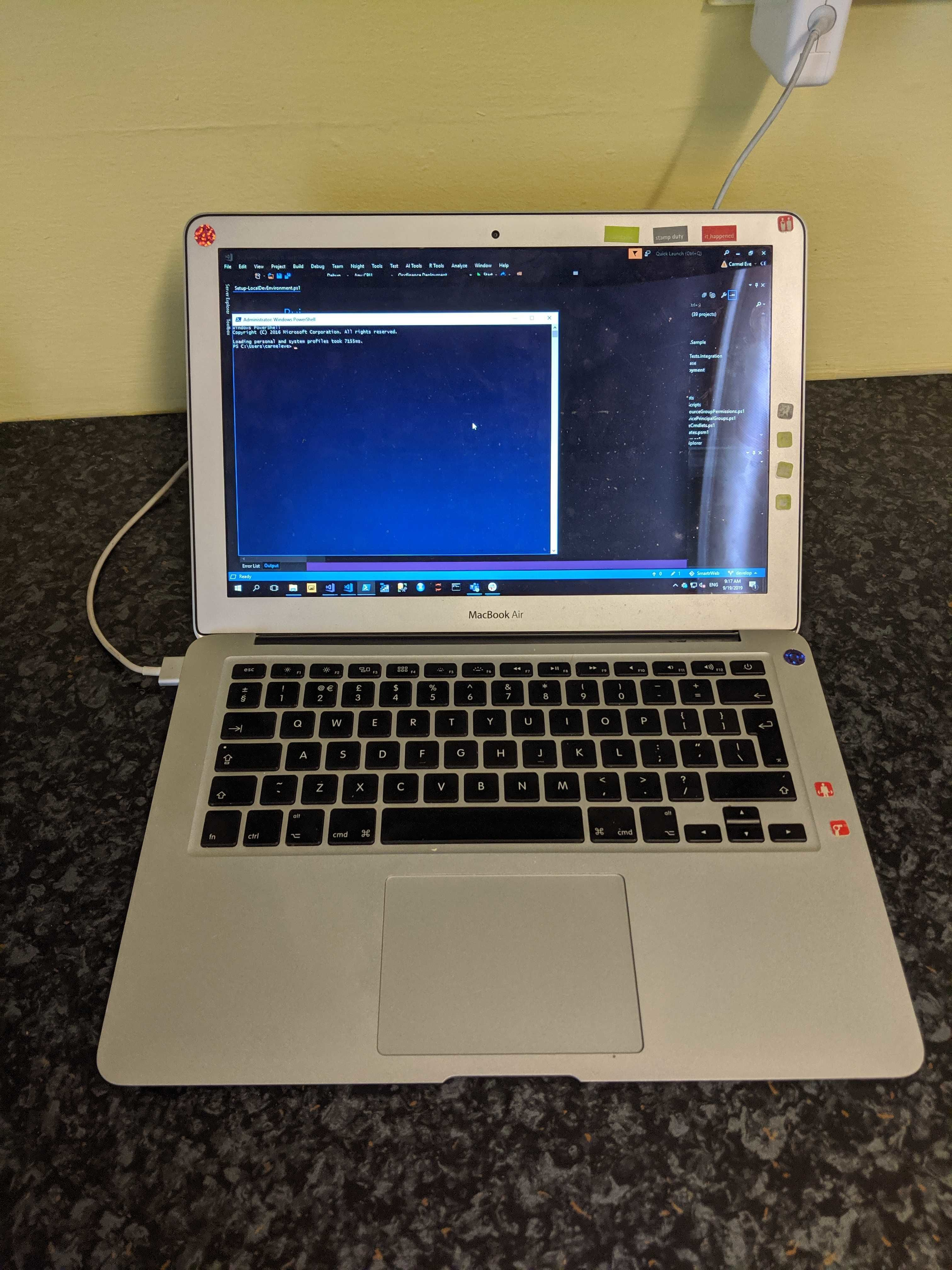 Image of MacBook connected to VM.