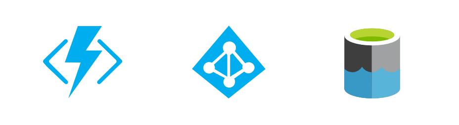 Functions, AAD and Data Lake logos.