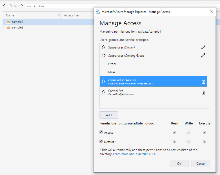 Access control lists shown in storage explorer.