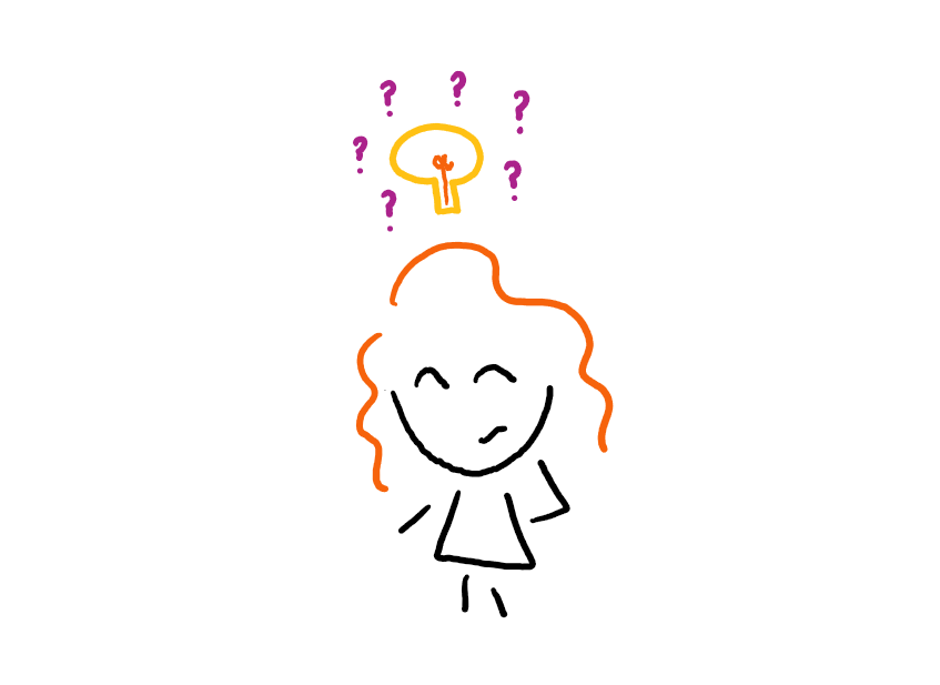 Doodle of author with lightbulb and question marks above head.