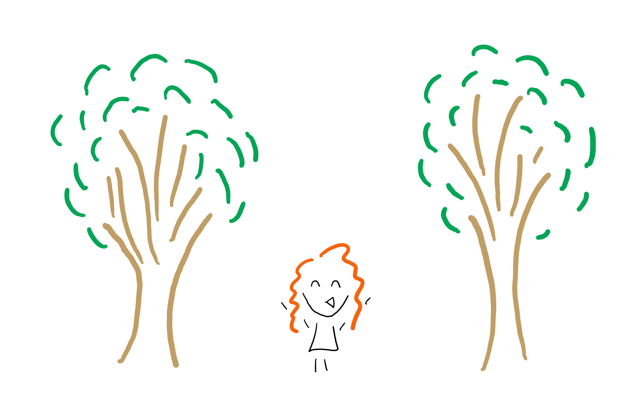 Doodle of author in between two trees.