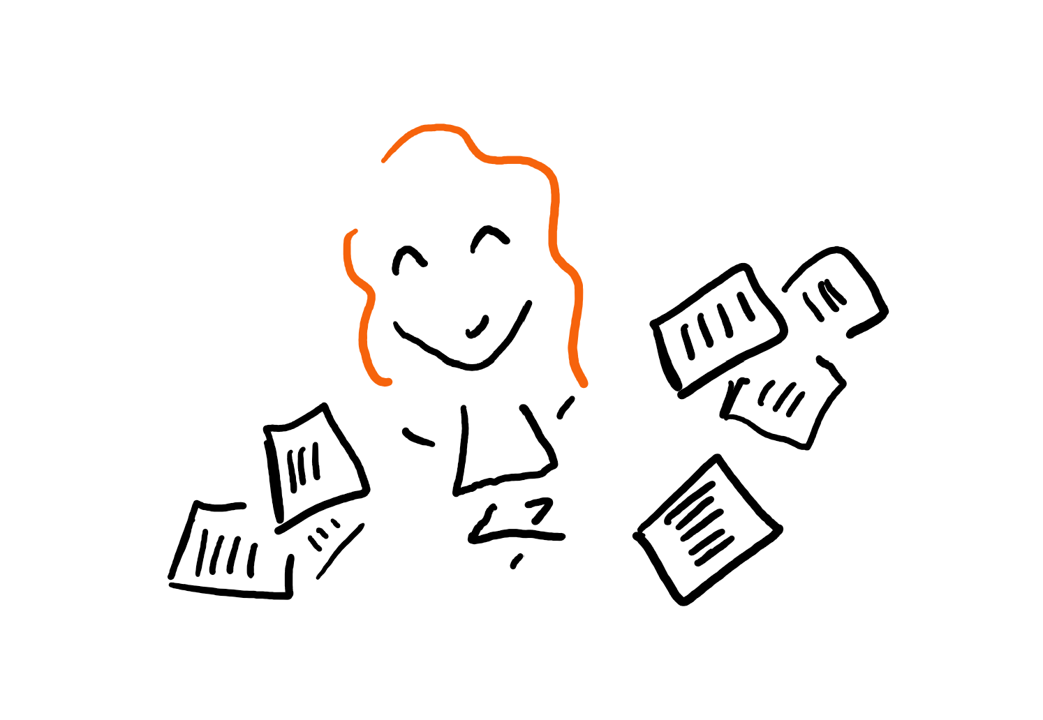 Doodle of author surrounded by notes.