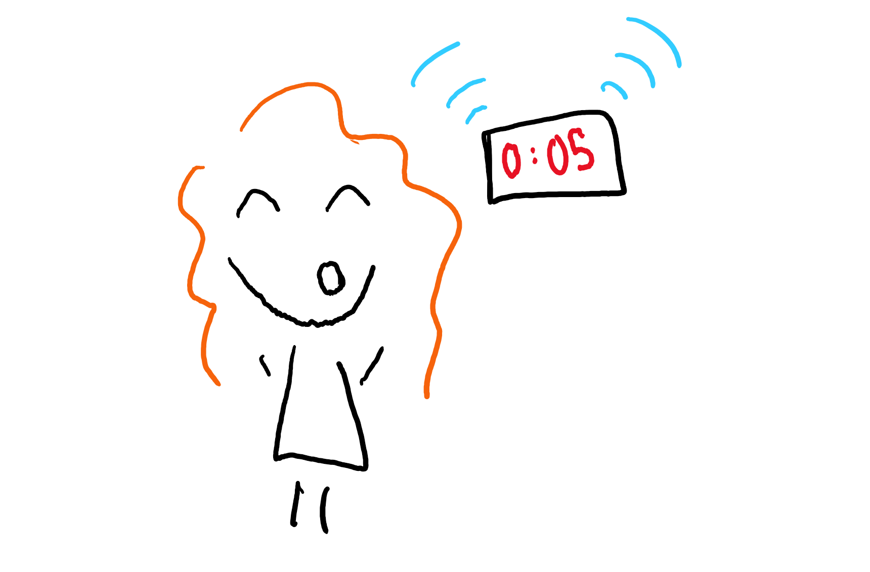 Doodle of author speaking as alarm rings.