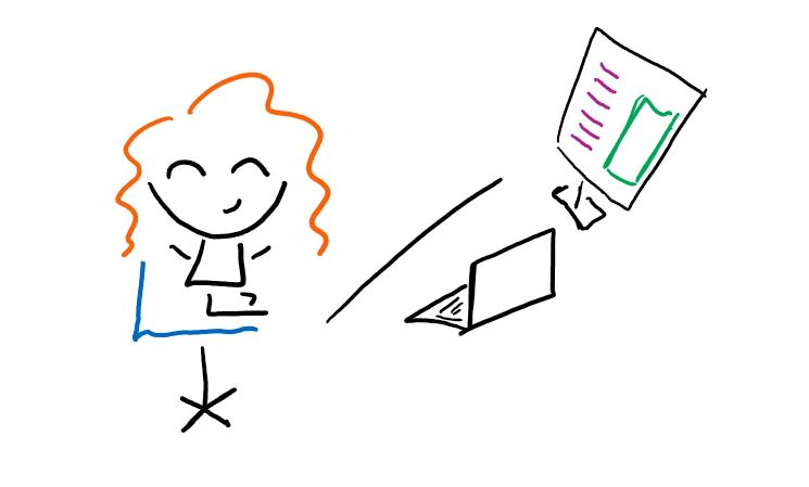Doodle of author sitting at desk cross-legged.