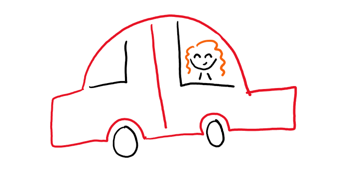 Doodle of author in car.