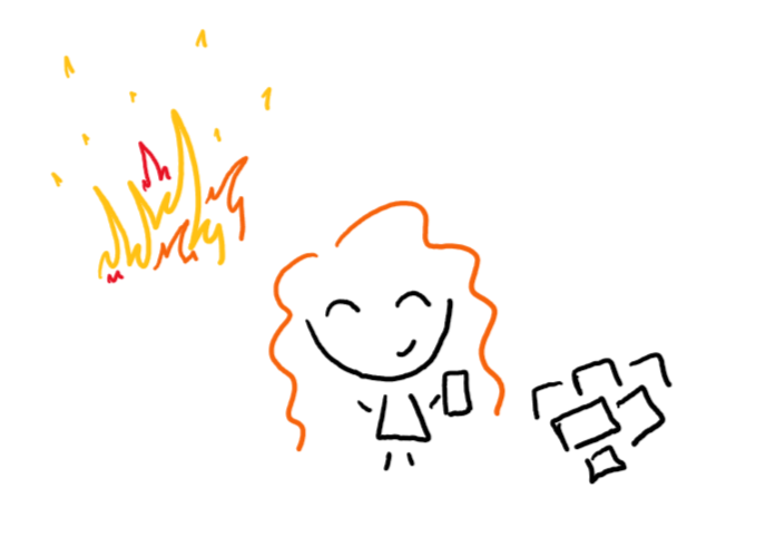 Doodle of author ignoring fire and looking at pile of paper.