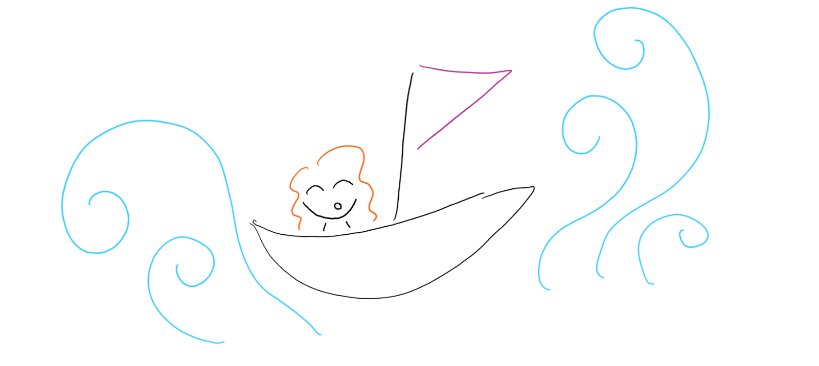 Doodle of navigating unknown waters.
