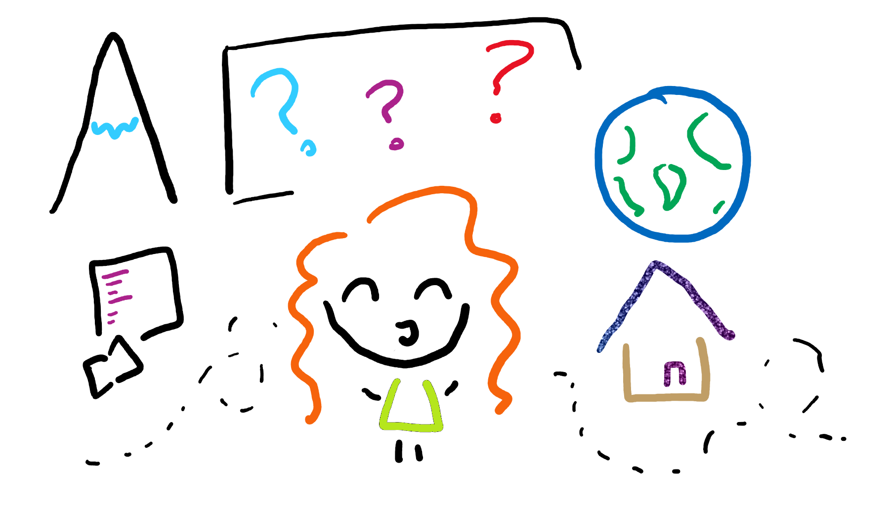 Doodle of author surrounded by the world, mountains, laptop and houses.