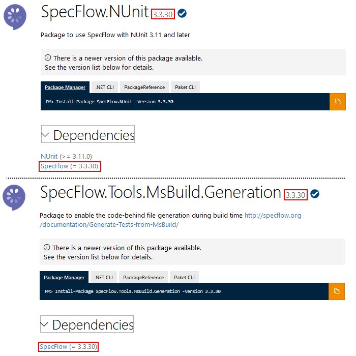 Nested dependencies pinned to a specific SpecFlow version