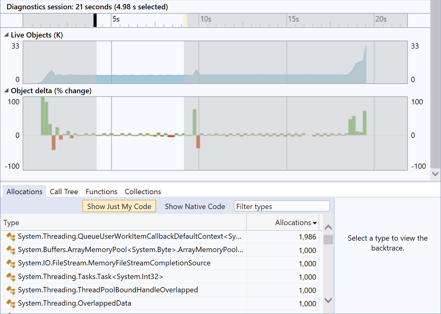 Memory profile view showing significantly fewer allocations by ArrayPool