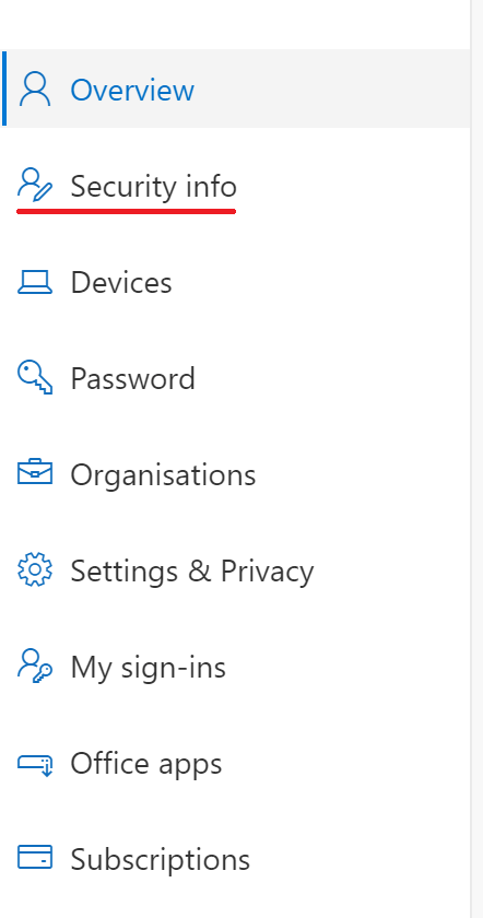 Showing security info tab in account settings page.