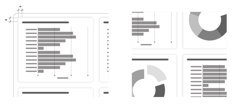 Graphic illustrating a BasicShape behind chart to give the illusion of more padding and a second graphic to the right illustrating a subtle use of dropshadow