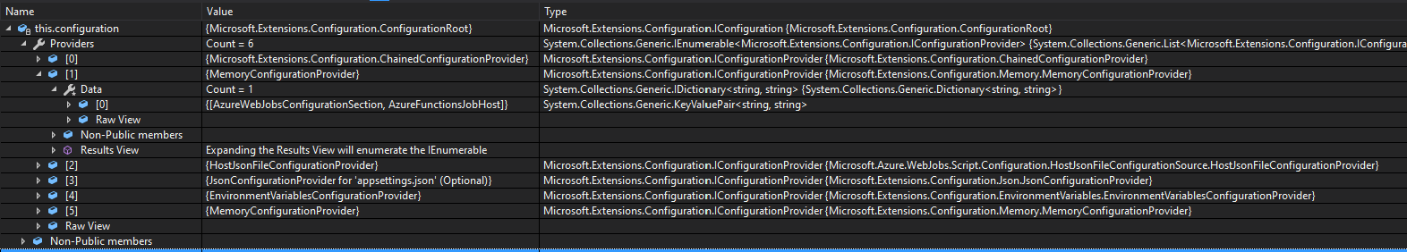 Visual Studio Watch window showing the contents of the provided IConfiguration instance