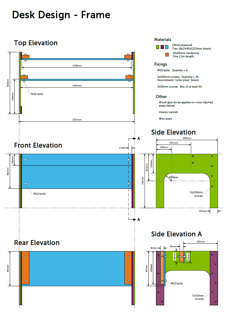 A technical drawing for the desk design is available for download.