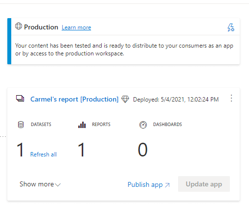 Production environment within pipeline with 'publish app' button.