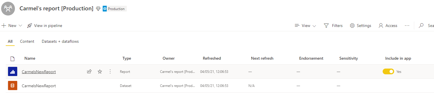 Reports in workspace with option to toggle 'Include in app'