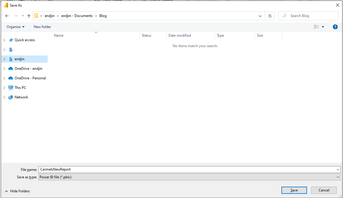 Saving report to SharePoint using local file explorer.