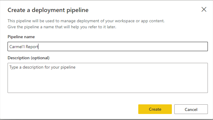 Create pipeline modal with pipeline name filled out.
