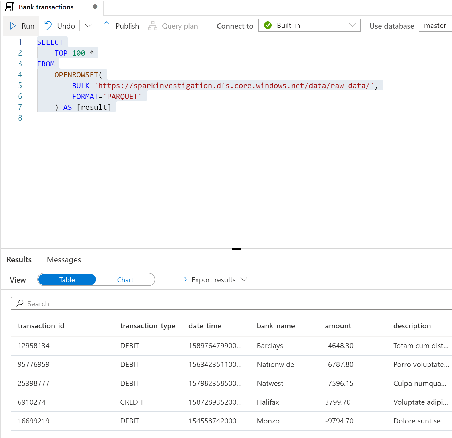 SQL script showing file output from querying whole folder