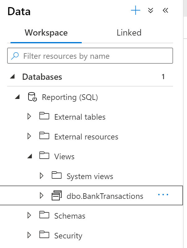 Database containing SQL serverless view