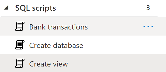 Database showing three SQL scripts: bank transactions, create database and create view