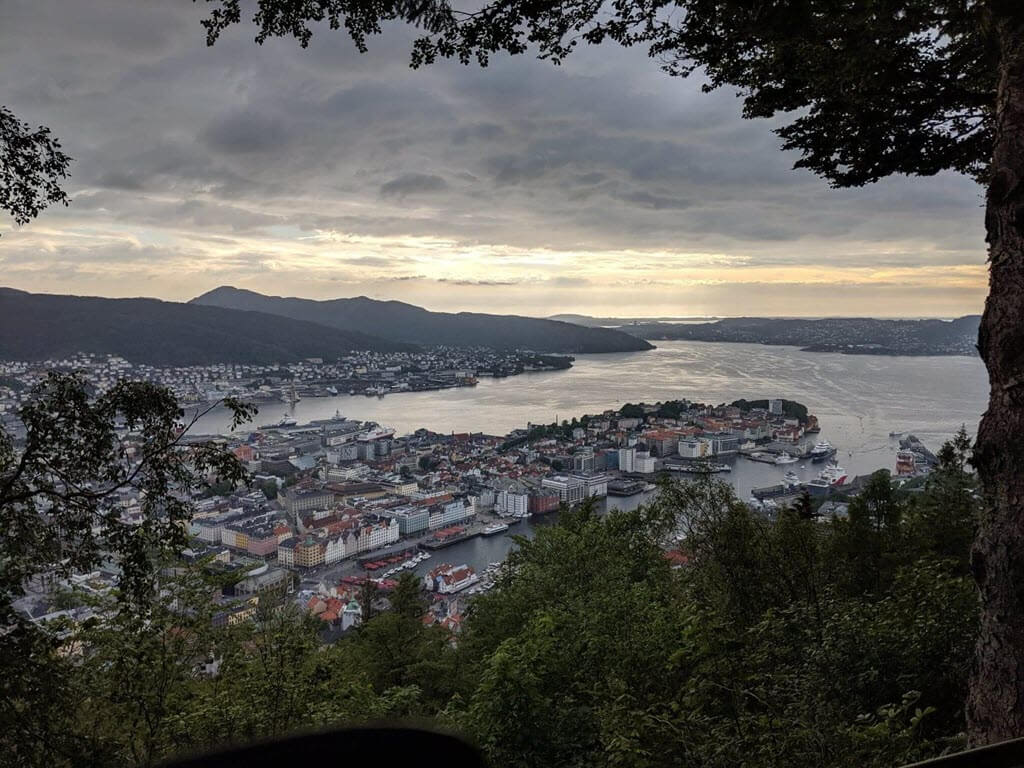 View over Bergen with setting sun.