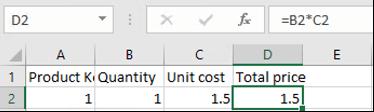Example Excel formula